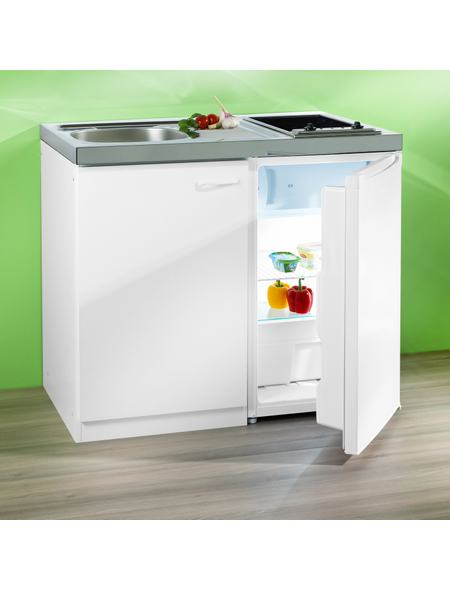 Pantry-Küche, mit Glaskeramik-Kochfeld und Kühlschrank ...